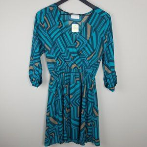 EVERLY by ALTAR'D STATE Dress | Teal, Pink, Tan -S